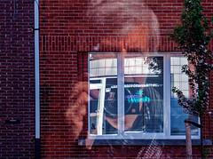Selfie through the window of the laundromat / Mirrored (juliensart) Tags: wassarette laundry laundromat washing machine drying reflection sef selfie zelfportret panasonic lumix lx7 dmc leica summilux juliensart gentbrugge gent ghent flanders belgium