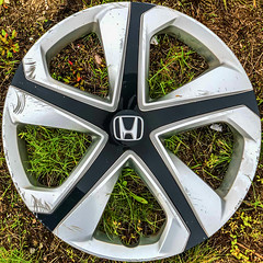 By the side of the road... (Timothy Valentine) Tags: squaredcircle large grass honda detritus wheelcover 2019 0519 eastbridgewater massachusetts unitedstatesofamerica