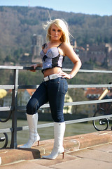 Janet 05 (The Booted Cat) Tags: sexy blonde girl tight blue jeans denim white heels highheels boots belt