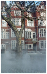 Art Installation (peterphotographic) Tags: img025edwm london england uk britain ©peterhall leica leicam6 m6 summarit summaritm35mmf25 kodak portra portra400 film 35mm scanned analog filmsnotdead rangefinder prime wideangle tree terrace water steam mist art installation modernart urban city cityscape