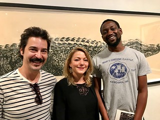 Artists Reuben Millares and Adler Guerrier with journalist Shayne Shnapier at the LnS gallery opening.