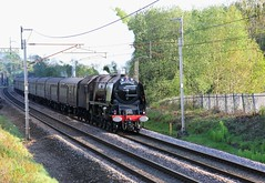 WCRC & RTC 'Great Britain XII '1Z86 with Stanier LMS 8P No. 6233 'Duchess of Sutherland' passing Standish Lancashire on the WCML  on a sunny Spring evening 29th April 2019 © (steamdriver12) Tags: lancashire england spring west coast main line wcrc rtc great britain zii 1z86 stanier lms 8p no 6233 duchess sutherland standish wcml sunny evening 29th april 2019 smoke steam coal oil heritage preservation