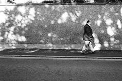 Dappled Pebble Dash (Mano Green) Tags: man wall dappled light pebble dash street person elgin scotland uk may spring 2016 canon eos 300 40mm lens ilford hp5 400 35mm film black white