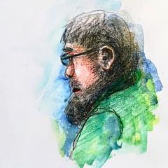 Croquis sur le vif (Ceha :-)) Tags: dessin croquis esquisse drawing sketch portrait face aquarelle watercolor coloredpencils crayondecouleur people