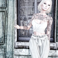Return to Innocence (Ombrebleue Winsmore) Tags: sissboom top shirt pants fashion couture casual whitewidow tattoo ink tram hair blond short lelutka mesh body head maitreya bento glamaffair skin applier lumipro spot spots light lights lighting projector projectors picture pictures photography photograph tool tools