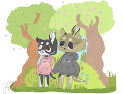 Ghanima x Edmund (carrothug) Tags: dogs digidalart art husky wolfdog kawaii cute uwu owo dog animals nature hoodies woods trees forest cherryblossom