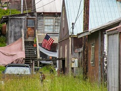 The real America (rociomcoss) Tags: flag america united states alaska neighborhood home house red white blue weeds porch grass abandoned rags