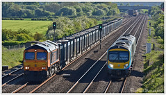 Busy Backlog at Brumber Hill 16 05 2019 (Mark's Train pictures) Tags: gbrf gbrailfreight gbrf66 gbrfclass66 class66 class66shed gypsum intermodal intermodalrail 4n08 4z27 66730 66749