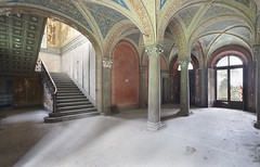 Villa Imperiale (Sean M Richardson) Tags: abandoned villa architecture details decay travel explore canon photography color light texture italia italy staircase painting pattern arches red blue gold