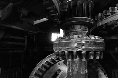 Inside the Pigment Windmill (Brett of Binnshire) Tags: longexposure historicalsite industry zaandam netherlands motionblur manipulations locationrecorded equipment bw architecture windmill gear photographictechnique museum zaanseschans northholland