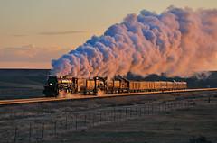 Granger by morning (Moffat Road) Tags: unionpacific up bigboy steamlocomotive train railroad glint sunrise smoke steam 4884 dawn granger wyoming upevanstonsub 4014 passengertrain exhaust