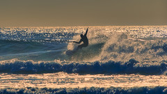 Evening Break (Ray Mines Photography) Tags: bandon beach oregon surf surfer waves tubs riding crest evening sunset ocean water ripcurl tide board wetsuit spray foam sand sea travel outdoors scenery