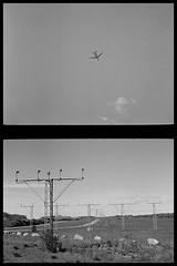 Fly away (Micke Borg) Tags: d76 kodak panf ilford dial35 bellhowell canon flygplats airport bromma sverige sweden stockholm