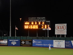 DSCN3909 (mestes76) Tags: 060818 duluth minnesota stadiums wadestadium baseball sports nwl northwoodsleague duluthhuskies scoreboard