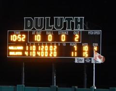 DSCN3910 (mestes76) Tags: 060818 duluth minnesota stadiums wadestadium baseball sports nwl northwoodsleague duluthhuskies scoreboard