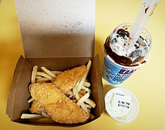 McDonald's new Fish and Chips with tartar sauce and a snack-sized Nanaimo Bar McFlurry (walneylad) Tags: mcdonalds restaurant food dinner fishandchips tartarsauce nanaimobar mcflurry icecream dessert canada limitedtime yummy fastfood sweet tasty fish frenchfries haddock northvancouver britishcolumbia may