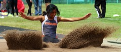 "Emerie Rios of Sterling finished second in the long jump with a 32' 10"" mark.- PLDL4050 (Paul L Dineen) Tags: 201905 2019 dates 20190510 otherplaces places sterling gender sports coed level varsity 5schools teams prairiemustangs brushbeetdiggers types track b4 b5 b6 b7 b8"