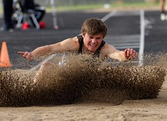 "Prairie Mustang Walter Jordan made 18' 0.25"" for fifth in the long jump. - PLDL4914 (Paul L Dineen) Tags: 5schools teams sports prairiemustangs 201905 2019 dates 20190510 otherplaces places sterling gender coed level varsity brushbeetdiggers types track b4 b5 b6"