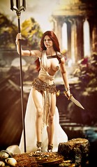 Poseidons Queen 1 (Mr Action Figure) Tags: 16scale 16 phicen tbleague seamlessfigure seamless female femalefigure redhair armor trident temple robe nude queen poseidon mythology dagger greek roman hottoys verycooltoys doll toy gold leather