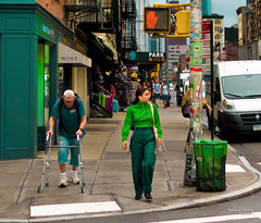 The New Yorkers - Green day (François Escriva) Tags: street streetphotography us usa nyc ny new york people candid olympus omd photo rue light woman colors sidewalk manhattan green man red traffic lights pants hand orange yellow
