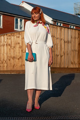 Finding Your Most Flattering Dress Silhouette: Elegant White Midi Dress with Heels | Not Dressed As Lamb, Over 40 Fashion and Style (Not Dressed As Lamb) Tags: summer white dress style fashion 40 over over40 ootd outfit