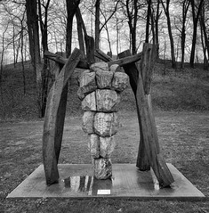 Grapes and Other Promises Sculpture (mswan777) Tags: sculpture art display grapes rock outdoor benton harbor michigan urban apple iphone iphoneography mobile monochrome black white ansel tree hill grass