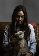 A girl and her cat (dklfl) Tags: color flash portraits portrait companion best friends friend beautiful beauty wife lady woman girl siamese kitten kitty cat