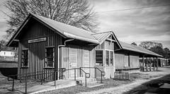 Porterdale Depot mono version (Neal3K) Tags: georgia kodakportra400 porterdalega depot rr railroaddepot vintage historic