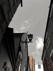 Red bricks (daveandlyn1) Tags: passageway lookingup brickwalls sky clouds towncentre gulletpassage shrewsbury streetlamp pralx1 p8lite2017 huawei psdigitalcamera cameraphone smartphone