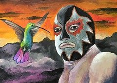 Untitled. Acrylics on paper. (Flamenco Sun) Tags: acrylics art fantasy surreal colourful colour psychedelic painting sunset hummingbird mexican wrestler