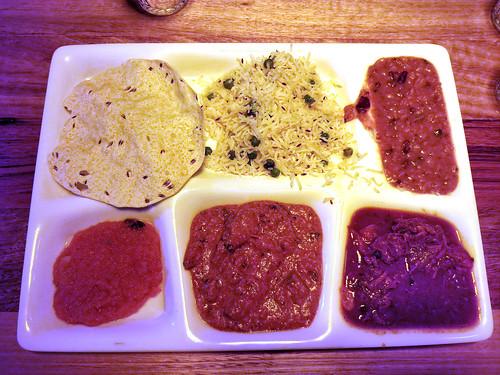Lunch Thali AUD14 + AUD2 for extra curry - Tejas, Melbourne - goat rogan josh, chicken tikka masala, dhal, peas pulao rice, papadom, sweet semolina