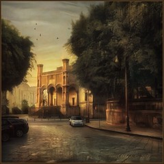 """from the series """"Walking in Italy"""".  Evening in Palermo. (odinvadim) Tags: mytravelgram iphoneart iphoneography iphoneonly evening painterlymobileart snapseed specialist sunset textures icolorama oldhouse travel iphonex textured landscape"""