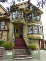 San Francisco, CA, Noe Valley, Painted Lady Victorian House (Mary Warren 13.5+ Million Views) Tags: sanfranciscoca noevalley nature flora plants green leaves foliage architecture building house residence victorian stairs entrance door bowwindow