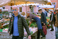 Three French men (ScotchBroom) Tags: annecy france market producemarket shopping streetlife