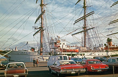 Nippon Maru at Victoria B.C. c1970 + contemporary cars (Brit 70013 fan) Tags: victoria britishcolumbia canada harbour nipponmaru sailing ship training japan japanesenavy barque yokohama 1970 cars automobile ford mustang chevrolet impala plymouth chevelle falcon