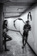 Between A Man And A Woman (sdupimages) Tags: blackwhite noirblanc noiretblanc heroes spiderman spiderwoman models cosplay costumes marvel shooting bw nb monochrome man wpman