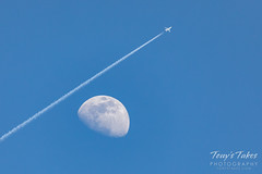 May 13, 2019 - The waxing moon and a plane. (Tony's Takes)