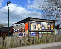 Adverts (Snapshooter46) Tags: pitvillage beamishmuseum adverts shed lamplight woodenrailings oxo newsoftheworld brookebondtea