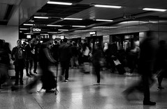 Euston Rush (Nick Upton_CFF) Tags: train stations street photography people lights shadows high contrast sony rx100 black white bw blackandwhite bnw noir blanc greyscale monochrome monotone mono