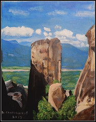 A Rock In Meteora, Greece - Acrylic Painting by STEVEN CHATEAUNEUF (2019) (snc145) Tags: art painting acrylic landscape scenery sky clouds rocks moss meteora greece colors stevenchateauneuf 2019 flickrunitedaward texture blue white green brown gray black mountains artgalleryandmuseums fineart awardtree thisisexcellent