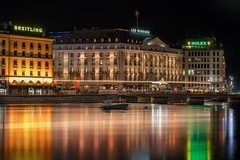 Rolex-Breitling (karinavera) Tags: city longexposure night photography cityscape urban ilcea7m2 sunset geneve lights rolex lake switzerland view
