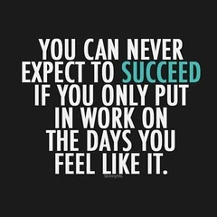 You can never expect to succeed if you only put in work on the days you feel like it (quotesoftheday) Tags: you can never expect succeed if only put work days feel like it delivered by feed43 service