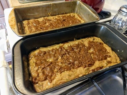 Layered Cinnamon Zucchini Breakfast Bread Batter In A Pan