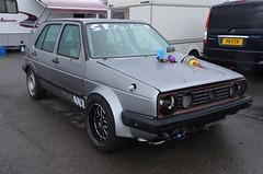 (Sam Tait) Tags: santa pod raceway england drag strip race track vw volkswagen golf mk2 5 door silver dragster