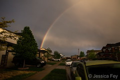 May 17, 2019 - A glowing rainbow to the east. (Jessica Fey)