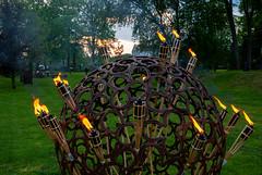 sphere and flame (Rambynas) Tags: lithuania lietuva martynojankausmuziejus bitėnai night fire flame sculpture