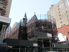 2019 Trinity Chapel Church Rebuilding after 2016 Fire 8507 (Brechtbug) Tags: 2019 trinity chapel complex church ruin from fire 05032016 may 3rd 2016 located flatiron district 15 west 25th street between broadway avenue americas 6th 05182019 constructed 185055 was designed by architect richard upjohn english gothic revival style gutted ruins nyc urban new york city manhattan later named serbian orthodox cathedral st sava saint bust nikola tesla stands outside