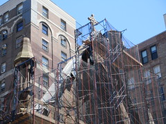 2019 Trinity Chapel Church Rebuilding after 2016 Fire 8555 (Brechtbug) Tags: 2019 trinity chapel complex church ruin from fire 05032016 may 3rd 2016 located flatiron district 15 west 25th street between broadway avenue americas 6th 05182019 constructed 185055 was designed by architect richard upjohn english gothic revival style gutted ruins nyc urban new york city manhattan later named serbian orthodox cathedral st sava saint bust nikola tesla stands outside