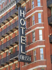 2019 Chelsea Hotel - 222 West 23rd Street NYC 8670 (Brechtbug) Tags: 2019 chelsea hotel reopening month or 222 west 23rd street between 7th 8th avenues nyc 05182019 new york city architecture sign signs built 1884 1885 twelvestory redbrick building that is now was one citys first private apartment cooperatives designed by philip hubert style described queen anne revival victorian gothic features include flower ornamented iron balconies facade grand staircase it tallest
