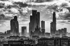 Moscow City Skyline (MarMont Photography) Tags: moscow russia architecture building blackwhite nikon nikonz6 skyscraper moscowcity bw 7sisters
